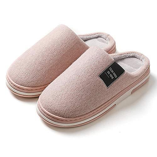 SHOESESTA Caliente Zapatillas de Estar por Casa De Algodón Damas Hogar Otoño Invierno Interior Ante Antideslizante Desodorante Mes Posparto Zapatos Rosa_40