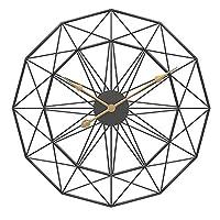 大きな丸い金属製の壁時計大きな時計、庭の屋外時計家の装飾シンプルなデザインサイレントベッドルームクォーツ時計、ゴールド、50cm