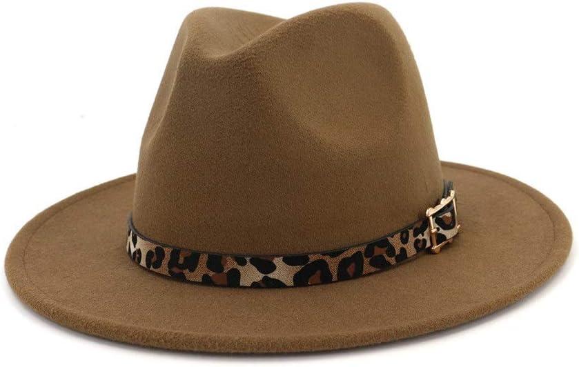 no-branded Panama Hat Men Women Cotton Jazz Visor Fedora Hat Belt Buckle Hat Church Decoration Fascinating Hat ZRZZUS (Color : Coffee, Size : 56-58cm)