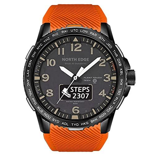 Reloj Inteligente Smartwatch De Deportes De Hombres,Medidor Multifunción A Prueba De Agua A Prueba De Agua Pantalla De Paso Dual Pantalla Táctil Modo Multi-Deportivo Modo Cronómetro,Naranja