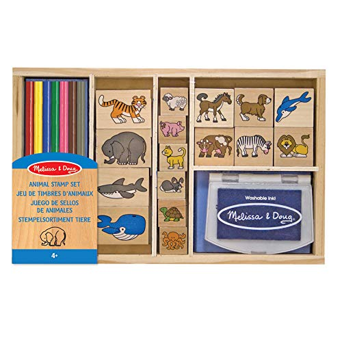 Melissa & Doug- Set di Timbri in Legno con Animali, Multicolore, 3798