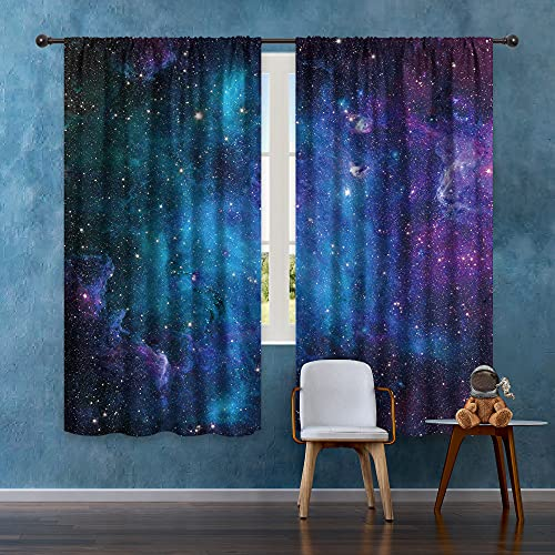 Riyidecor Kids Boys Galaxy Curtains Outer Space Rod Pocket (2 Panels 42 x 63 Inch) Blue Planet Nebula Universe Black Psychedelic Starry Sky Living Room Bedroom Window Drape Treatment Fabric WW-CLLE