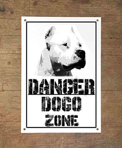 Danger DOGO ARGENTINO zone Targa cartello metallo attenti al cane metal sign (20X30)