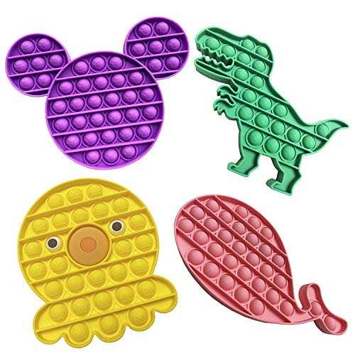 Push Pop Bubble Fidget Toy Sensory Toy Mouse Dinosaur Octopus Whale Sensory 4Pcs Toy relieves Stress, Fidget Toy is Especially Needed for Anxiety and ADHD, Silicone Squeeze Autism Toy