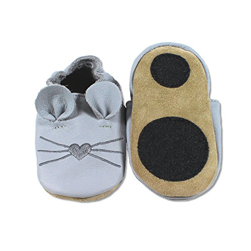 HOBEA-Germany Baby Lauflernschuhe Tiermotiv mit Anti-Rutsch-Sohle, Kinder Hausschuhe mit Tiermotiv: Maus hellgrau, Größe: 18/19 (6-12 Mon)