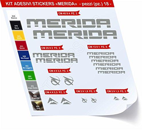 Adesivi Bici Merida Kit Adesivi Stickers 18 Pezzi -Scegli SUBITO Colore- Bike Cycle pegatina cod.0420 (Grigio Medio cod. 074)