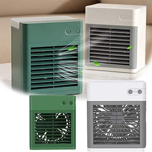 ZURITI Ventilador De Aire Acondicionado PortáTil, Enfriador De Aire, Humidificador Y Purificador Enfriador De Aire Personal USB 3 En 1, Luz Nocturna Led Y 3 Velocidades De Ventilador A+B