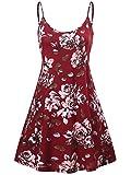 MSBASIC Red Floral Dress, Short Floral Junior Summer Dresses M