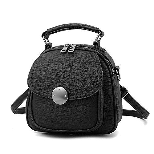 Mini Schwarzer Rucksack Phone Rucksäcke PU Leder Backpack Handtasche Für Frauen Mädchen...
