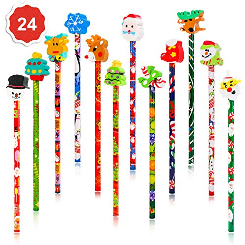 Konsait 2 Dozen (24) Christmas Pencils Assortment With Giant Eraser Topper Decorated With Santa Christmas Tree For Christmas School Party Favor Supplies Accessories Goodie Bag Stocking Filler