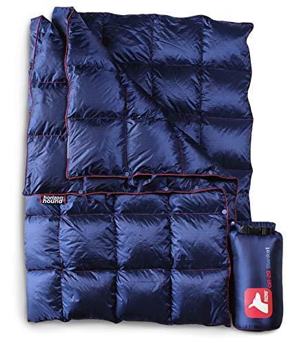 地平线猎犬向下野营毯 - 室外轻量级的Packable绒毛毯紧凑型防水和保暖露营徒步旅行 -  650补电(午夜蓝,看大图)