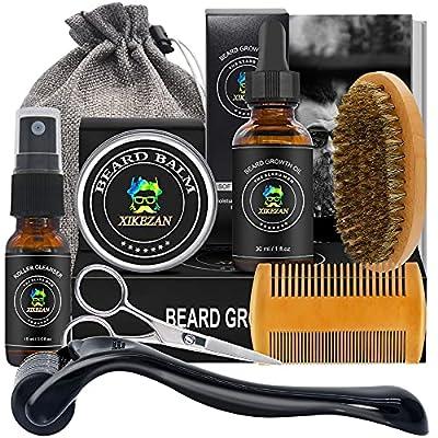 Beard Growth Kit w/Beard & Hair Roller,Beard Growth Oil,Beard Balm,Beard Roller Cleanser,Beard Comb,Bag,E-Book,Beard Care Grooming Kit for Beard Growth,Stocking Fillers Gifts for Men Him Dad Husband by XIKEZAN