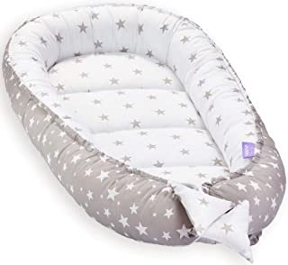 JUKKI Babynest Babynestchen 50x90 cm Babykokon, 2seitig, 100% Baumwolle, Kissen, Nestchen für Babybett, Kuschelnest, Reisebett für Baby und Säuglinge