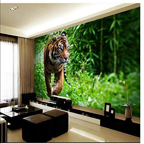 Meaosy High - Definition - Zaun Tiger Wohnzimmer Wandbild Hintergrund Wand benutzerdefinierte großformatigen Fresko grüne Tapete-280x200cm