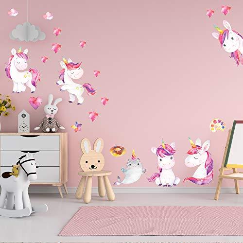 Tatuaggio da parete camera per bambini set di adesivi - bellissimo set di unicorni rosa - 21 elementi da attaccare alla parete - adesivi murali colorati autoadesivi