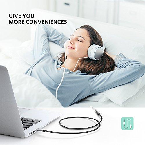UGREENステレオオーディオケーブル延長オーディオコード標準3.5mmステレオミニプラグ高音質ヘッドホンケーブルスピーカー、PC、スマホ、TV、車等に対応(1M)
