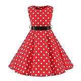 Robe d'été pour fille - Style vintage années 50 - En coton - Sans manches - Avec ceinture -  Rouge - 11-12 ans