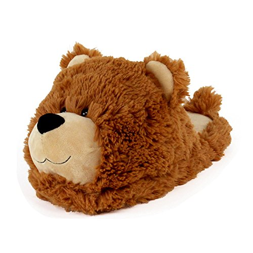 AnimalSlippers.com Fuzzy Bear Slippers - Plush Teddy Animal Slippers Brown, 7-10.5
