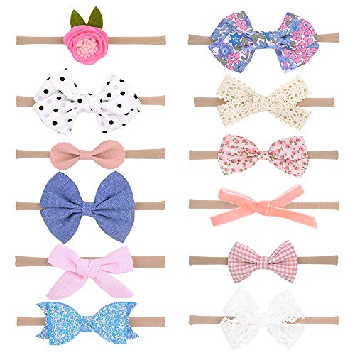 Baby Girls Nylon Headbands, IIS Chiffon Flowers Bows Newborn Infant Toddler Hairbands and Child Hair Accessories (Multicolored-7-12PCS)