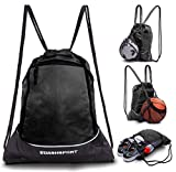 Drawstring Bag with Mesh Net - Sackpack with Net for All Sports and...