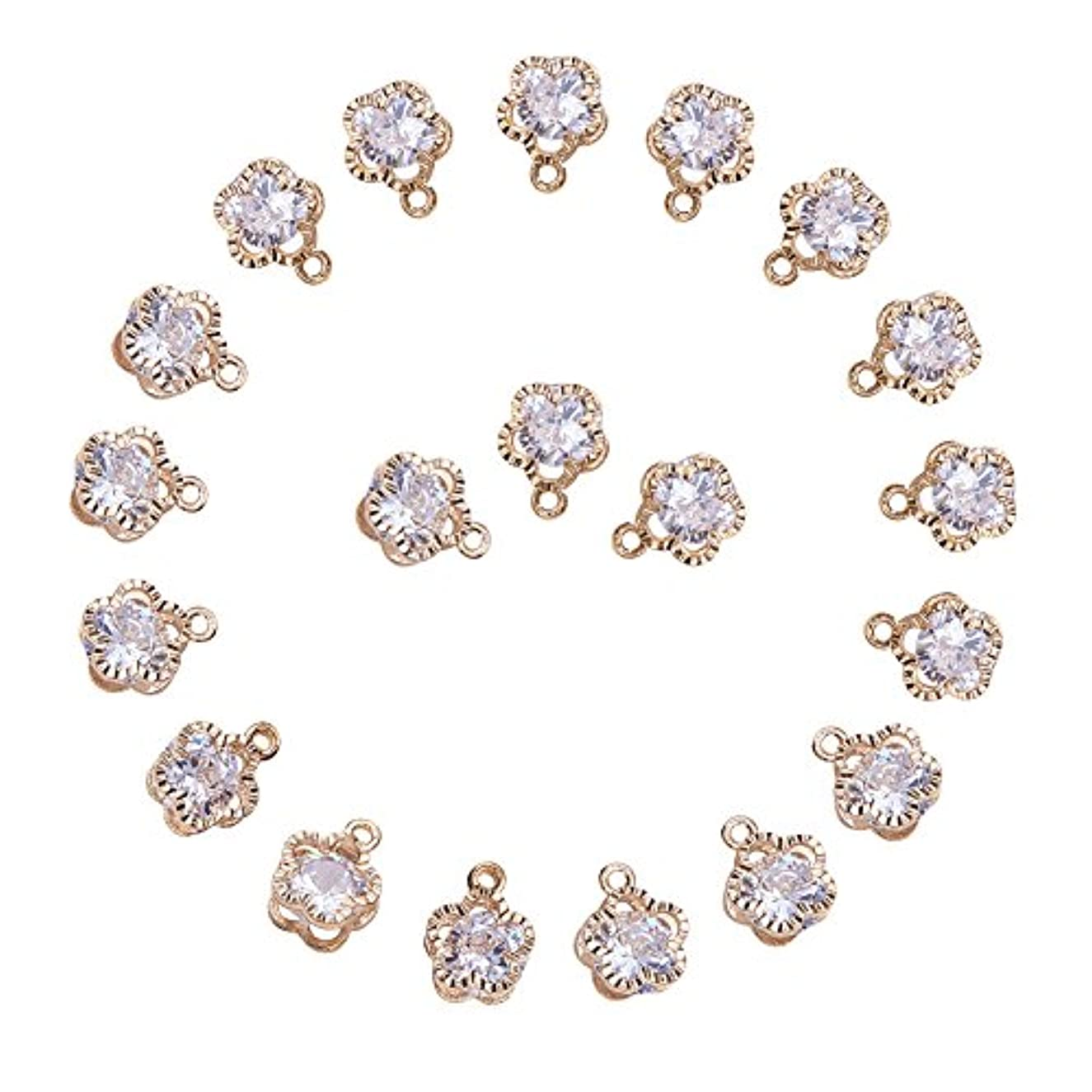 PandaHall 1Bag About 100 Pcs Cubic Zirconia Alloy Flower Shape Charms Sets for Jewelry Making Size 12x9x5mm KC Gold