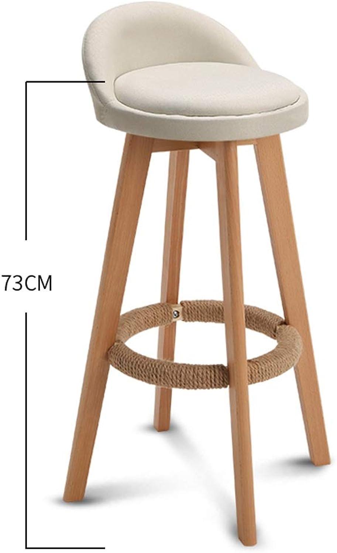 ZfgG Bar Stool Nordic Modern Minimalist Household Solid Wood High Stool Bar Stool Bar Chair Leisure Back Chair Stool (color   White)