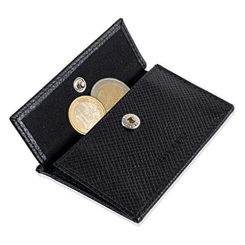 Coin Pocket Münztasche für ZNAP Slim Wallet – Platz für bis zu 10 Münzen – Inklusive RFID Shield Blocker – Kleingeldfach, Münzgeldfach, Münzfach, Coin Case zum Einschieben (Saffiano Echtleder)