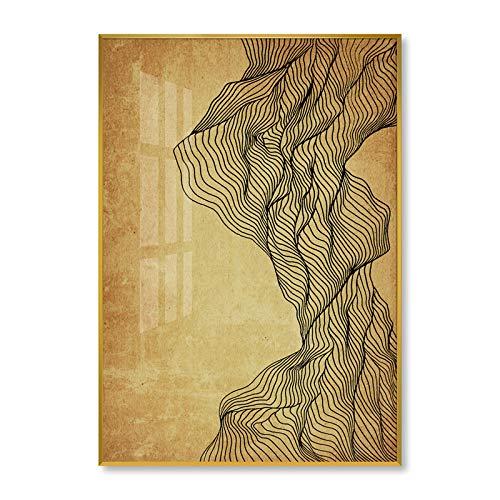 Baodanla olieverfschilderij met abstracte lijn, Chinese stijl, moderne Zen-Chinese stijl
