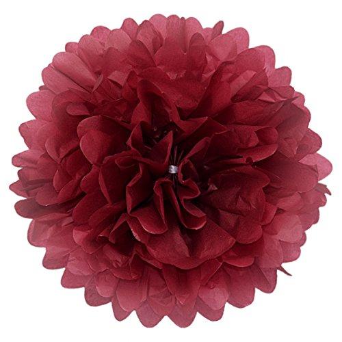 Simplydeko Pompoms 10er Set | Deko Pom-Poms aus Papier | Papierkugel zur Hochzeit, Party & Kindergeburtstag | Papierblumen als Hochzeitsdeko | Seidenpapier Pompons | Amarena-Rot Dunkel-Rot | 30 cm