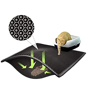 ASOBEAGE Tapis de litière, Tapis de litière en nid d'abeille Tapis de litière pour bac à litière Tapis de litière en nid d'abeille pour Chat (38 * 61cm, Noir)