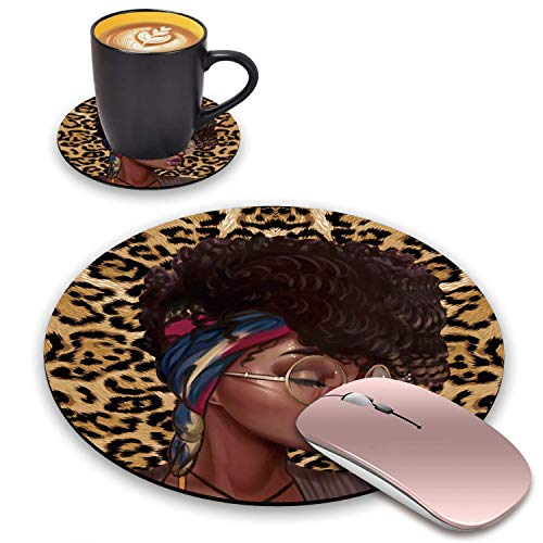 BWOOLL Round Mouse Pad and Coasters Set, Leopard Print Gaming Mouse Pad, African American Girls Design Mouse Pad, Non-Slip Rubber Base Mouse Pads for Laptop and Computer