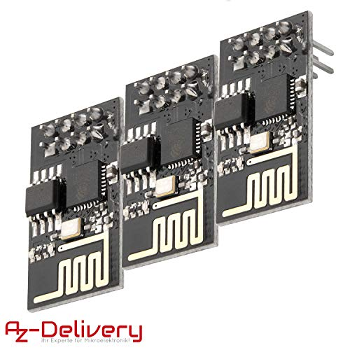AZDelivery 3 x esp8266 ESP-01S WLAN WiFi Modul kompatibel mit Arduino und Raspberry Pi inklusive E-Book!
