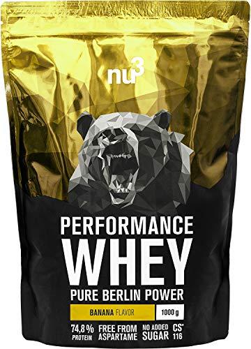 nu3 Performance Whey Protein - Banana Blend 1 kg Proteinpulver - Eiweißpulver mit guter Löslichkeit - 22,4 g Eiweiß je Shake - plus Whey Isolate & BCAA - Bananen Geschmack - gut für Muskelaufbau
