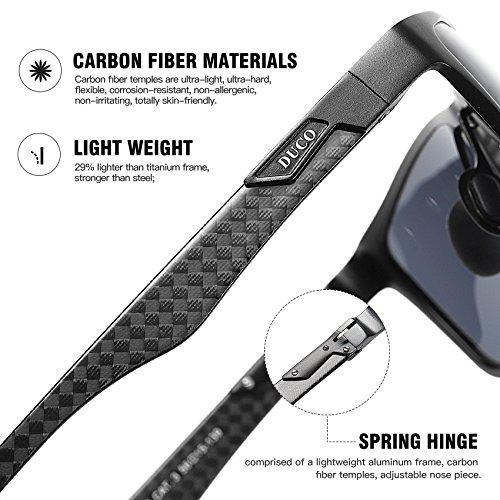 DUCO Men's Luxury Carbon Fiber Temple Polarized Sunglasses for Men Sports UV400 DC8206 (Gunmetal Frame Grey Lens)