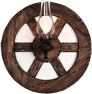 LifeX Retro Barco Timón de madera Aplique Lámpara de pared de madera maciza americana Restaurante Cafetería Iluminación de pared Personalidad Sala de estar Lámparas de pared E27 Base Luz de pared de v