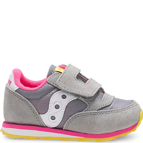 Saucony Jazz Hook & Loop Sneaker (Toddler/Little Kid), Grey/Pink, 4 M US Toddler