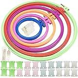 6 tamaños kit Aros de Bordado Multicolor, 6 piezas Aro de punto de cruz de círculo de plástico (8cm a 25 cm) con 15 agujas, 20 Bobinas de Hilo y enhebrador para arte artesanía práctica costura