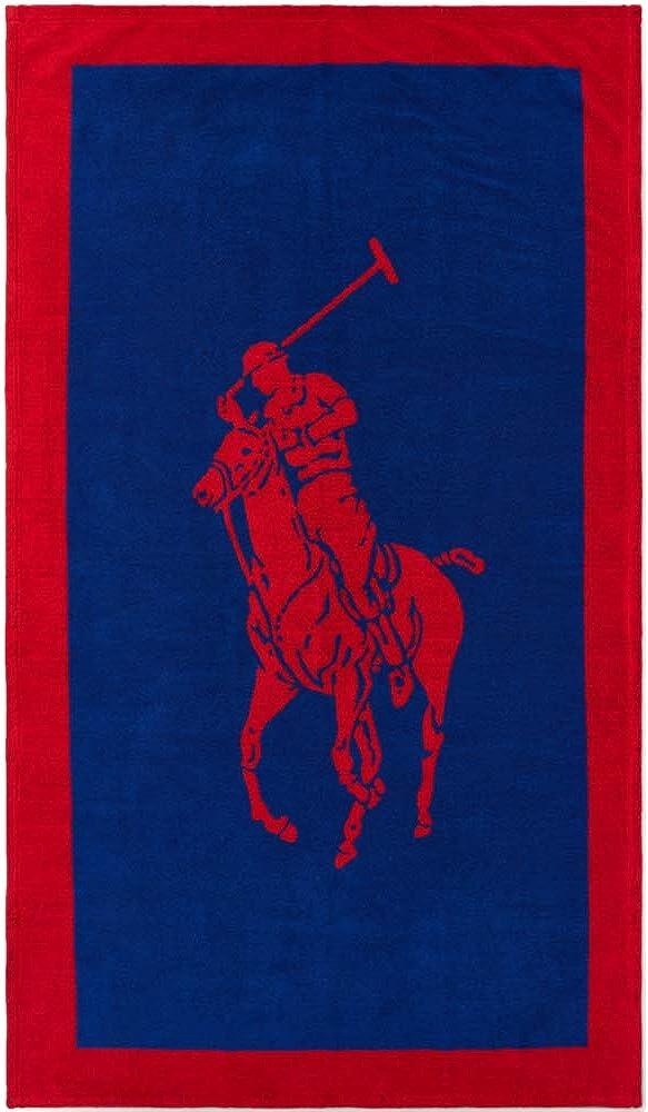 Ralph lauren, telo bagno in tessuto jacquard, colore: rosso/blu