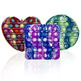 3 PCS Tie Dye Silicone Push Pop Bubble Fidget Sensory Toy Pack, Stress Reliever Gift for Kids and...