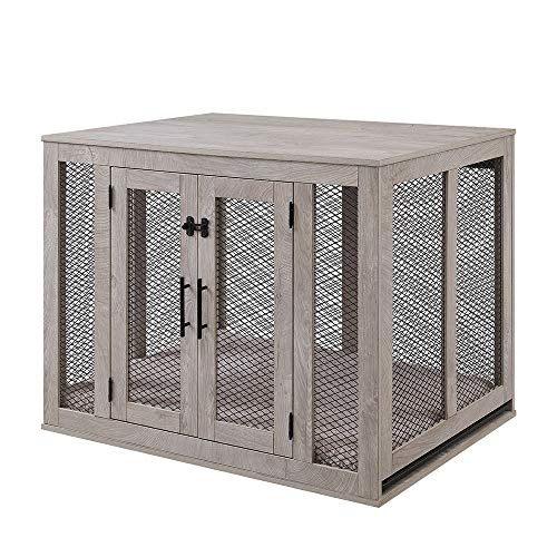 unipaws Furniture Style Dog Crate with Cushion and Tray, Mesh Dog Kennels with Double Doors, End Table Dog House, Medium and Large Crate Indoor Use, Chew-Proof (Large, Grey)
