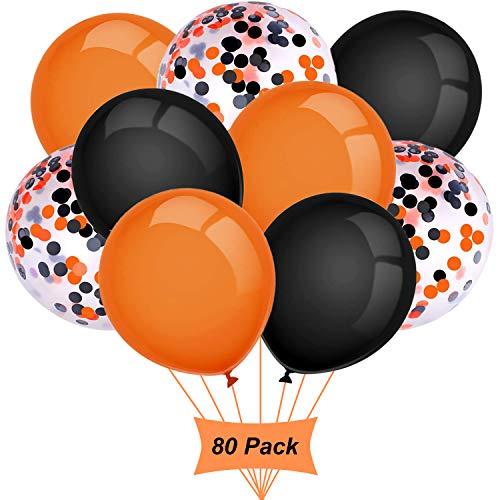 Gxhong Ballons Orange Noir, 12 Pouces Ballons dhalloween, Dé