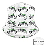 Motorcycle Green Dirt Bike Colorful Patterned Face Bandana Balaclava for Boy Girl Teens, Sun Uv...