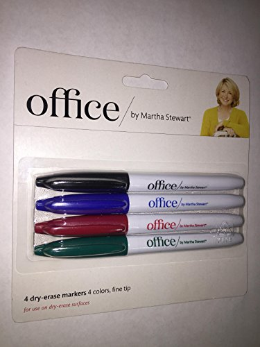 Office by Martha Stewart 1773311 Dry Erase Markers 4 Pk Assorted Colors (28549)