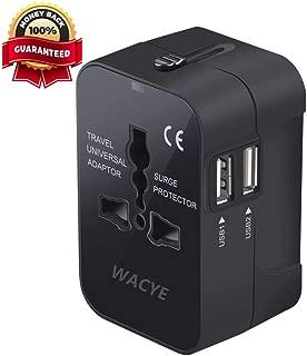 Travel Power Adapter Kit,Wacye Dual USB Universal Travel Adapter Converter AC Power Plug Adapter for Europe USA UK AUS Asia (Black,2 USB)