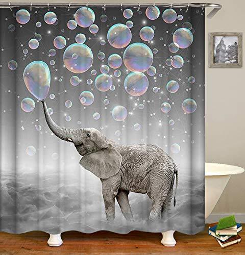 YCZZ Kunststoffhaken aus reinem Kupfer Knopfloch Elefant Duschvorhang 180 * 180 cm hoch Elefant G Duschvorhang