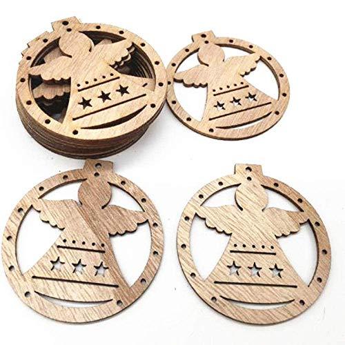 DSDD Ornamento 50 Piezas artesanía de Madera año Nuevo decoración navideña Colgante Centro Comercial Familiar Colgante de decoración de árbol de Navidad-E