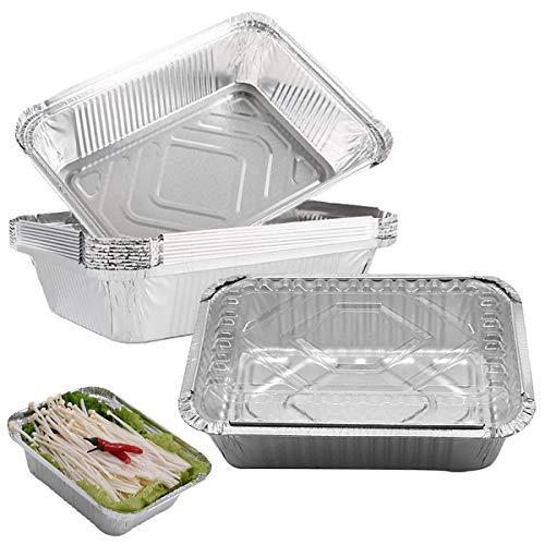 ZXT 30 Piezas Andejas de Papel Aluminio Desechables,Desechables Papel de Aluminio para Horno,Bandeja de Goteo para Barbacoa Ideal para Hornear, Asar y Cocinar, 850 ml