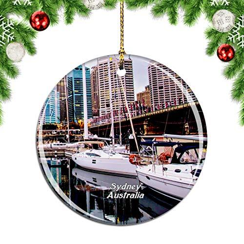 Weekino Australien Darling Harbour Sydney Weihnachtsdekoration Christbaumkugel Hängender Weihnachtsbaum Anhänger Dekor City Travel Souvenir Collection Porzellan 2,85 Zoll