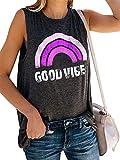 JIER Camisetas sin Mangas con Estampado para Mujer Good Vibes Summer Sleeveless Rainbow Casual Tees Tunics Blusa (Multicolor 2,XXL)