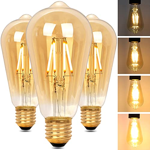 Regulable Bombilla LED E27 Edison, Bombilla Vintage ST64 Retro Dimmable, Lámpara Blanco Cálido 4W 2200K (Equivalente a 40W),...